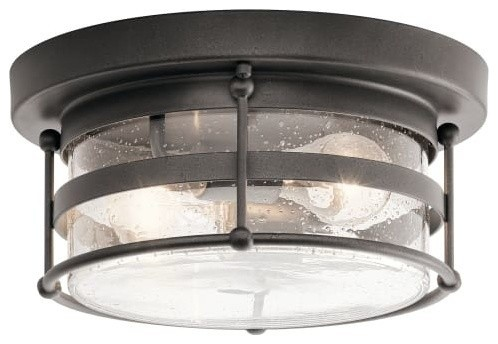 Kichler 49965 Mill Lane Flush Mount Outdoor Ceiling Fixture, Anvil Iron.
