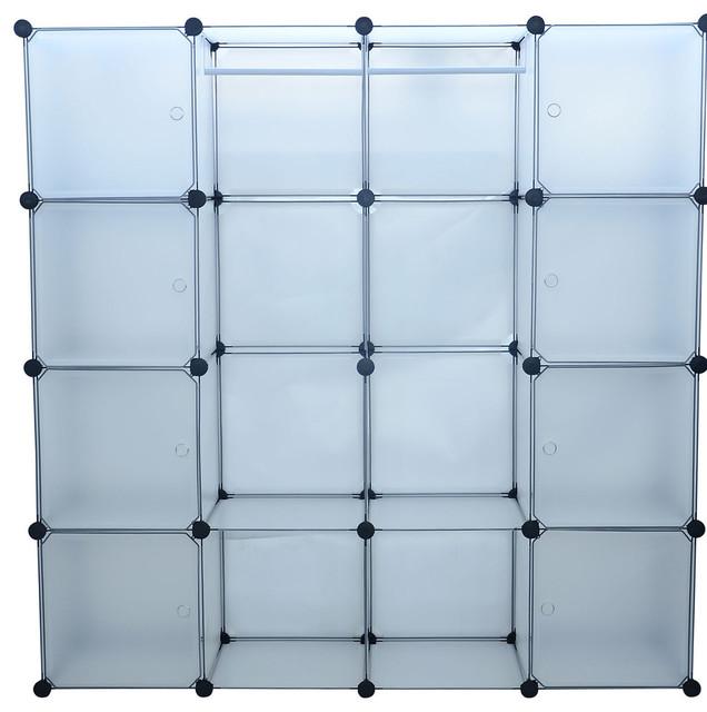Aosom Plastic Portable Wide Modular Storage Closet Organizer With 8 Enclosed Cubes - Closet ...