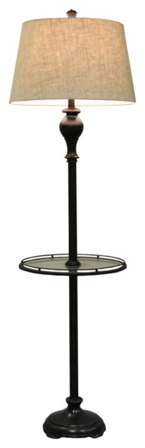 61 Metal & Poly Floor Lamp With Glass Tray Table.