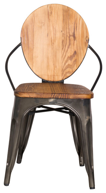 Fine Mod Imports Metal Dining Chair Walnut Industrial Dining