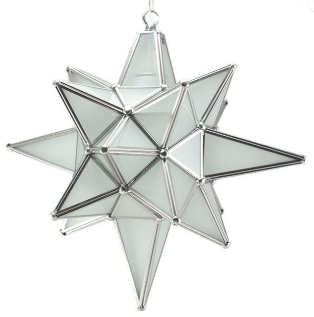 Star Of Bethlehem, Moravian Star Pendant, Frosted Glass, Silver Frame, 15x18.