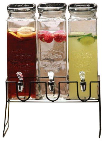 triple glass beverage dispenser with chalkboard lids dispensers - Beverage Dispensers