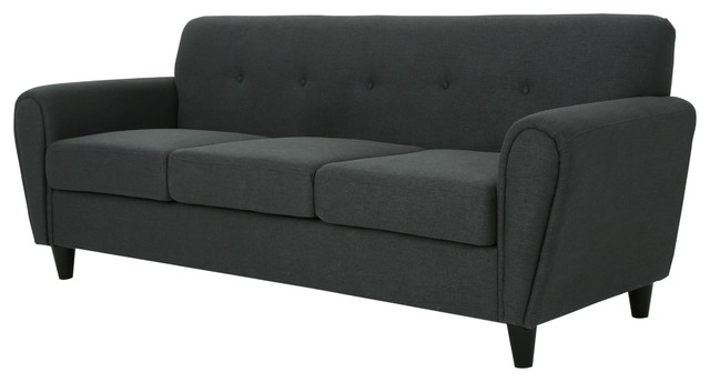 Emily Buttoned Traditional Fabric 3 Seat Sofa, Dark Gray