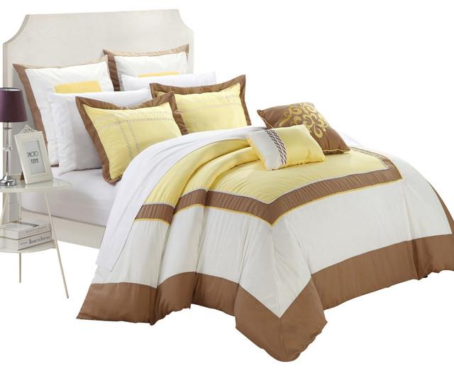 Ballroom Yellow, Brown & White King 11 Piece Comforter Bed