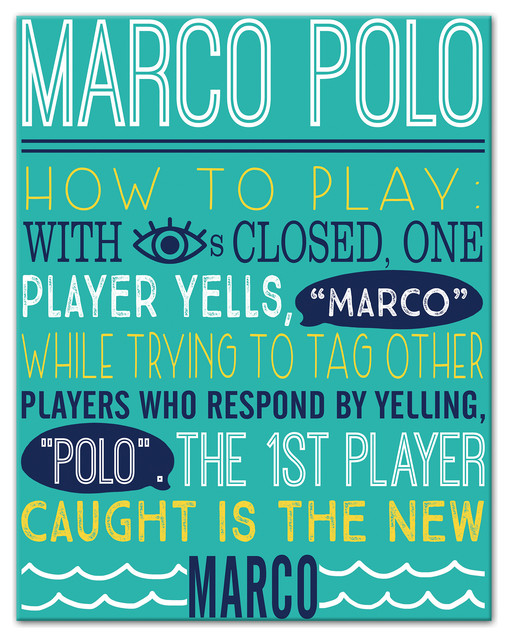 Marco Polo Swimming Pool Rules 11x14 Canvas Wall Art