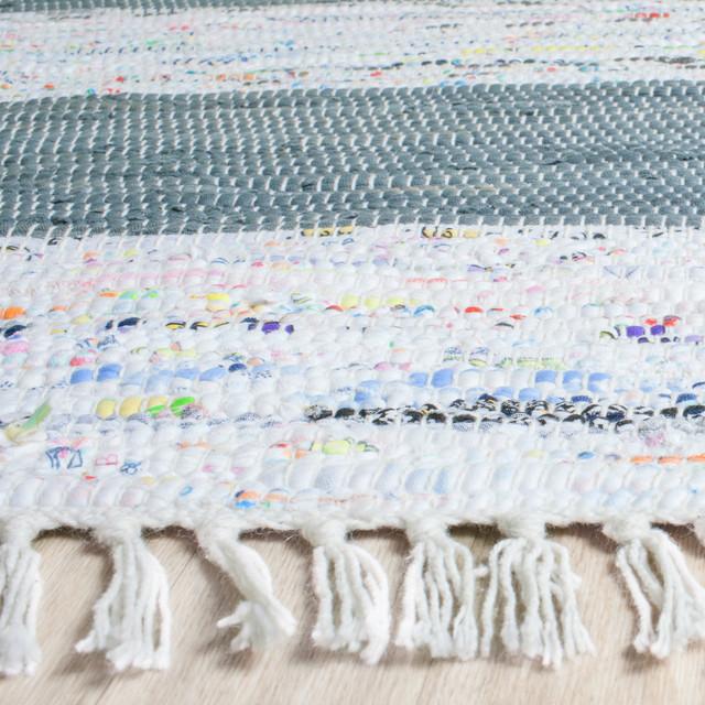 Safavieh Montauk Flatweave Rug, Ivory/gray, 6&x27;x6&x27; Square.