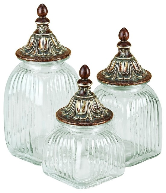 Polystone Glass Canister, 16, 13, 12, 3-Piece Set.