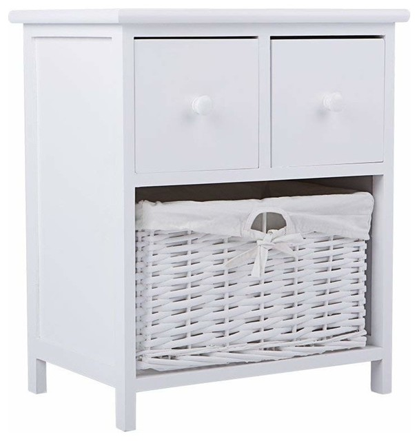 Bedside Table, White Finished Wood With 2 Storage Drawers and Wicker Basket
