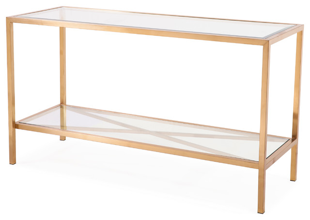 Gardner Console Table, Antique Gold Contemporary Console Tables