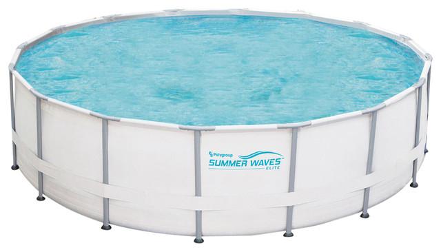 Summer Waves Elite Round Metal Frame Swimming Pool Package ...