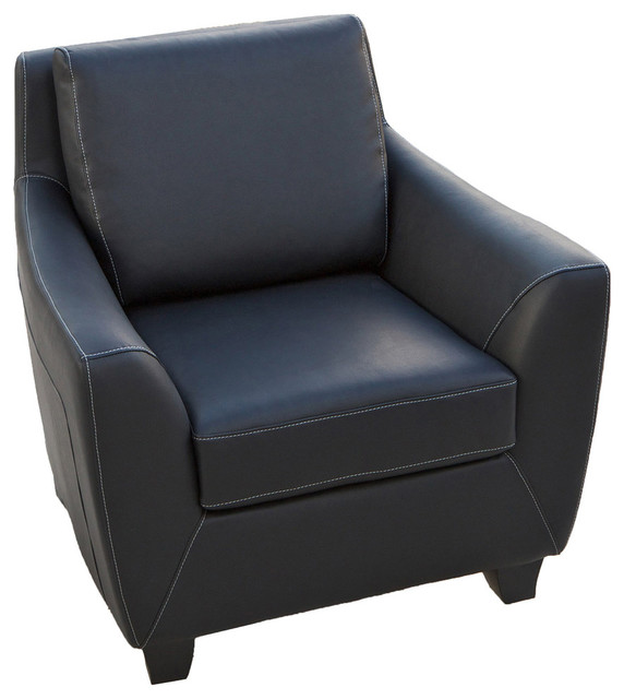 Barker Black Leather Modern Club Chair.