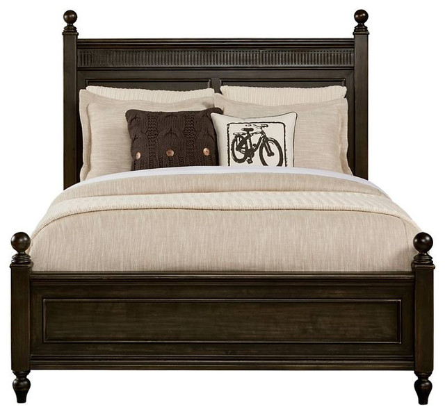Smiling Hill Panel Bed, Licorice, Full.
