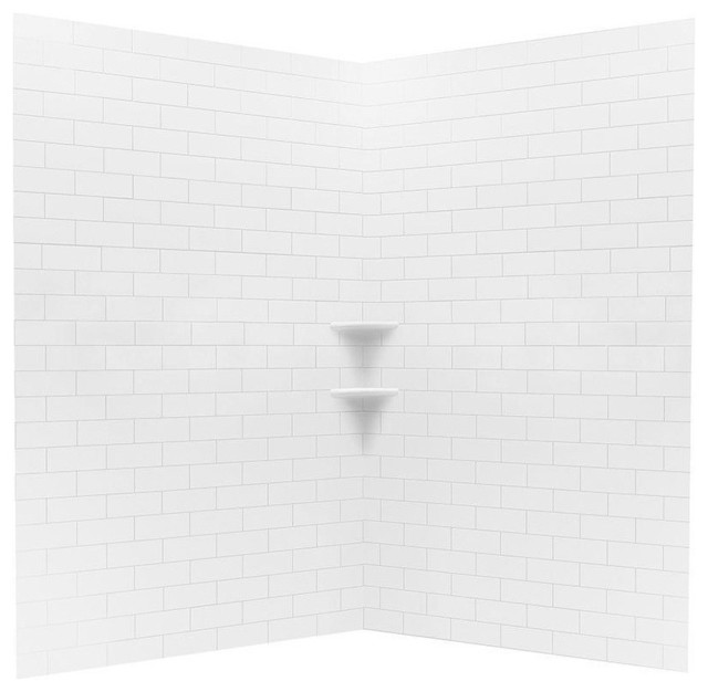 Subway Tile Easy Up Adhesive Neo Angle Shower Wall, White, 3-Piece ...