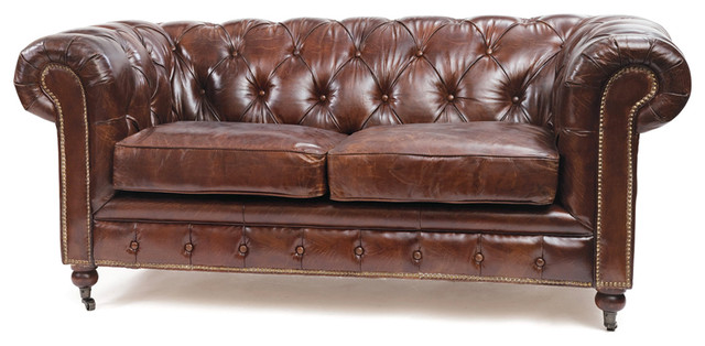 London Vintage Top Grain Leather Chesterfield Sofa