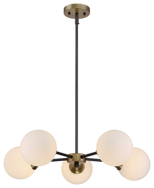 Trade Winds Retro 5-Light Chandelier in English Bronze and Warm Brass