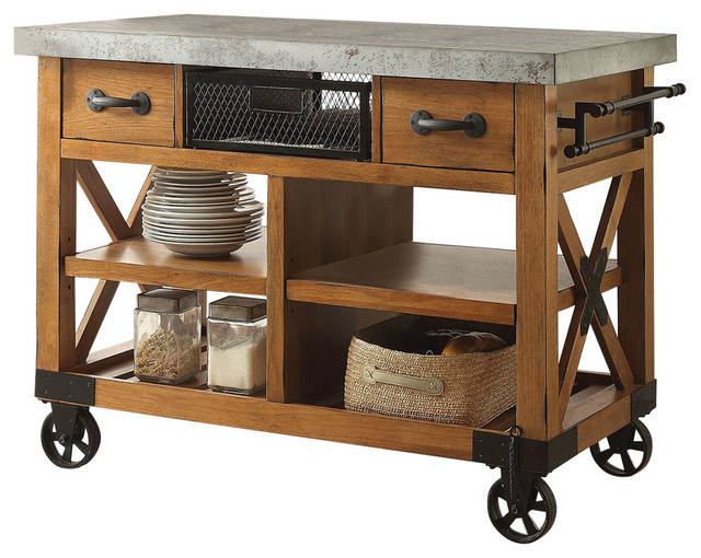 Kailey Kitchen Cart, Antique Oak Finish Industrial Kitchen Islands And  Kitchen