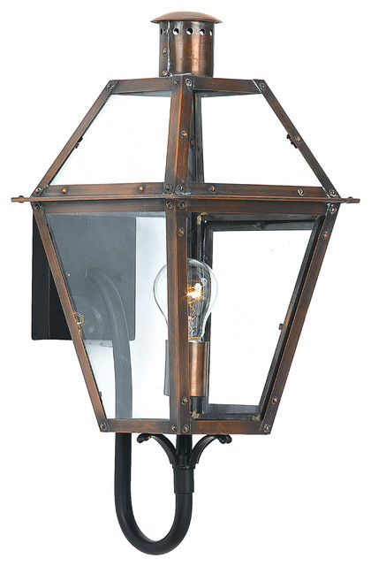Rue De Royal 1-Light 21h Outdoor Wall Sconce Aged Copper With Clear Glass.