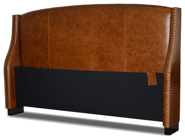 Leather Wing Headboard With Nail Heads, Distressed Brown, King.