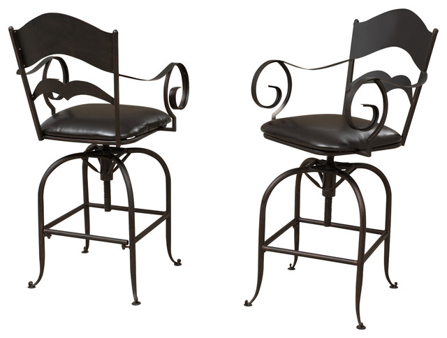 Gdfstudio Hale Black Iron Swivel Bar Stools Set Of 2