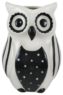 Black And White Ceramic Owl Vase Vases By Zeckos