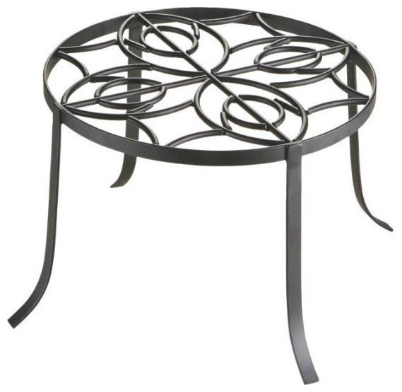 "Mintcraft Iron Plant Stand, 12"", Black."