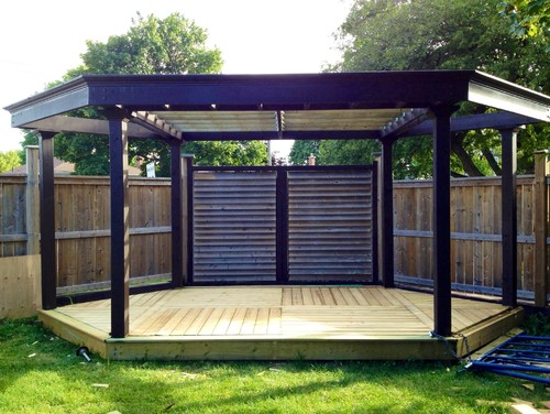 Decided To Custom Build A Pergola And Deck By The Angled Off Fence