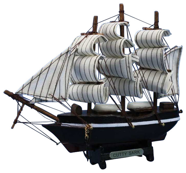 """Turtles And Tails Master Bedroom Before And After: Wooden Cutty Sark Tall Model Clipper Ship, 7"""" Small"""