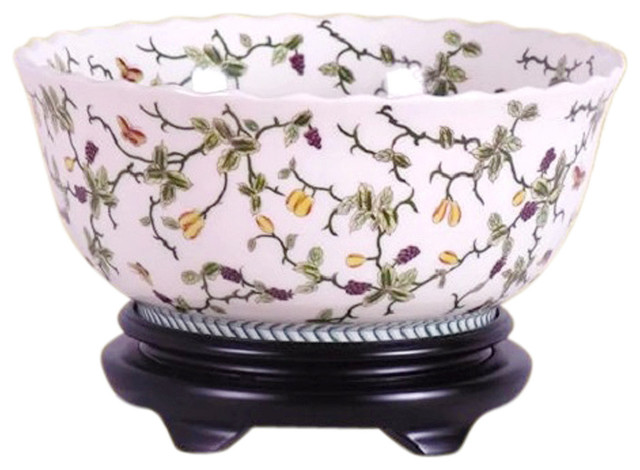 Chinese Multi Color Floral Porcelain Bowl With Base 14