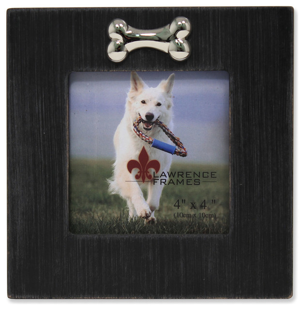 4x4 Black Wash Dog Frame with Bone Ornament - Contemporary - Picture ...