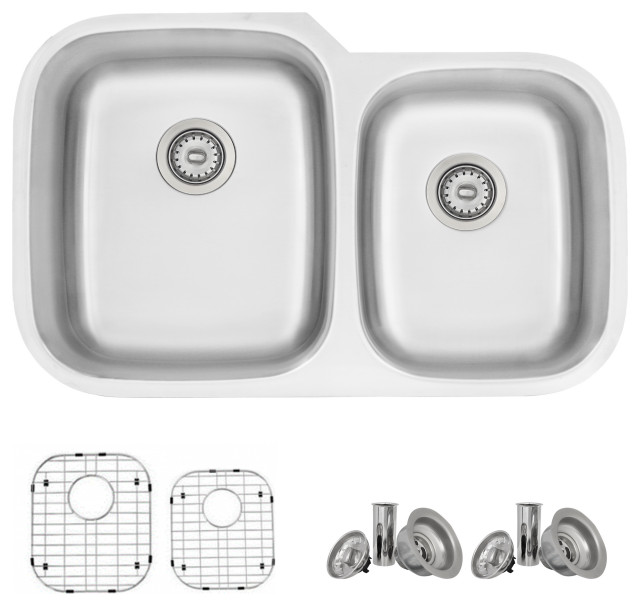 "32""L x 20.75""W Stainless Steel Double Basin Dual Mount Kitchen Sink"