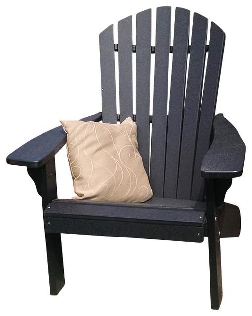 Charmant Poly Fanback Adirondack Chair, Black