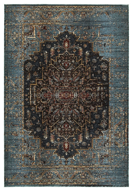 "Echo Regal Medallion Blue and Navy Area Rug, 7'10""x10'10"""
