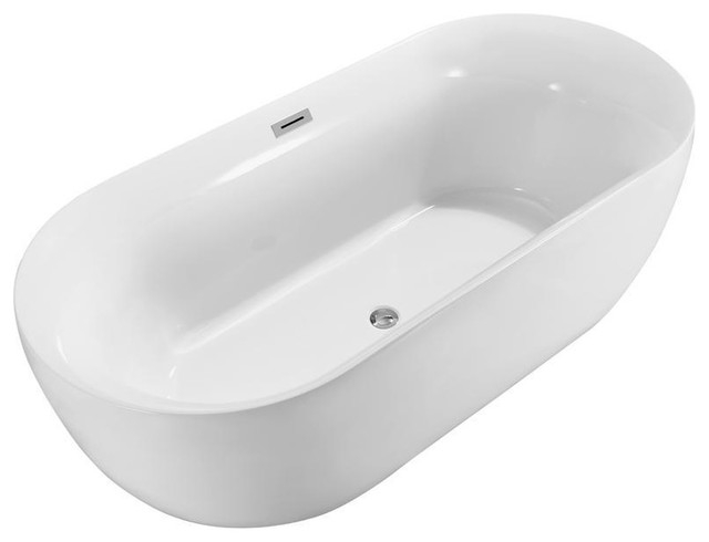 "Streamline 59"" Soaking Freestanding Tub With Internal Drain."