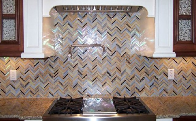 rainbow herringbone pattern glass kitchen backsplash contemporary