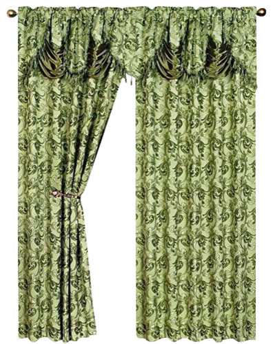 2 Eden Curtain Panels With Attached Austrian Valance, Sage Green