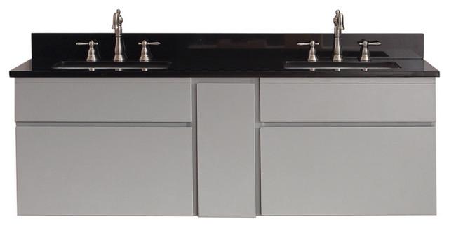 """Avanity Tribeca 61"""" Double Vanity In Chilled Gray Finish, Black Granite Top."""