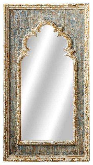 Arch Wall Mirror With Gold Brush, Distressed Blue.