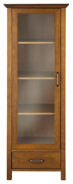 oak finish linen tower glass door bathroom storage cabinet with drawer