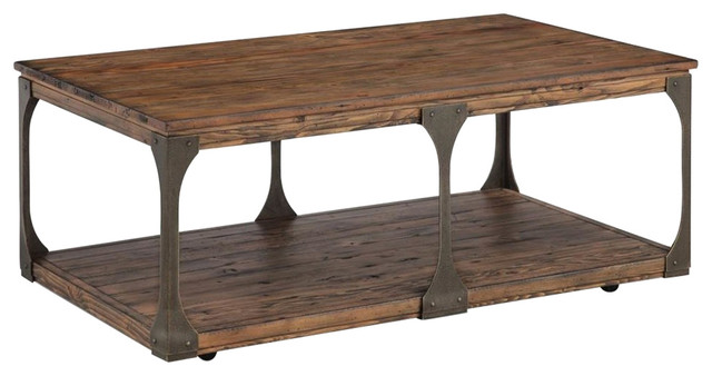 Coffee Table With Casters, Distressed Bourbon.