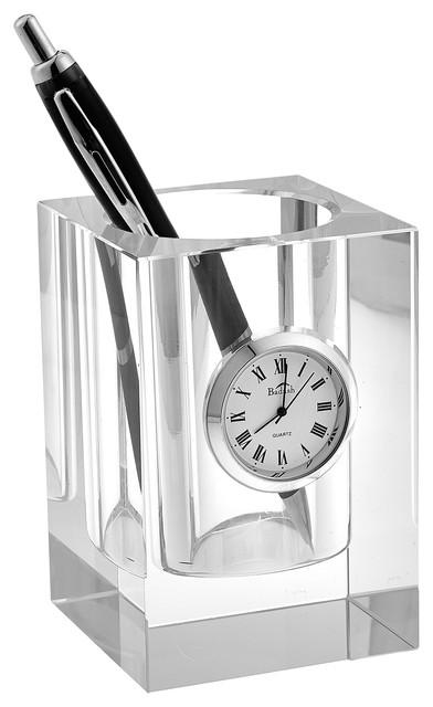 "Pencilholder Clock 3.75""x 2.75""."