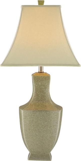 Honora Ivory Crackle Ceramic Table Lamp - Ivory Crackle Ceramic, Nickel Hardware.