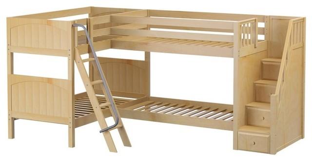 Calumet Sleeps 4 Full Stairway Bunk Bed, Natural Transitional Bunk Beds