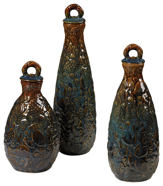 Set Of 3 Shoal Of Fish Ceramic Jars Transitional Decorative Jars And Urns By Beverly Stores