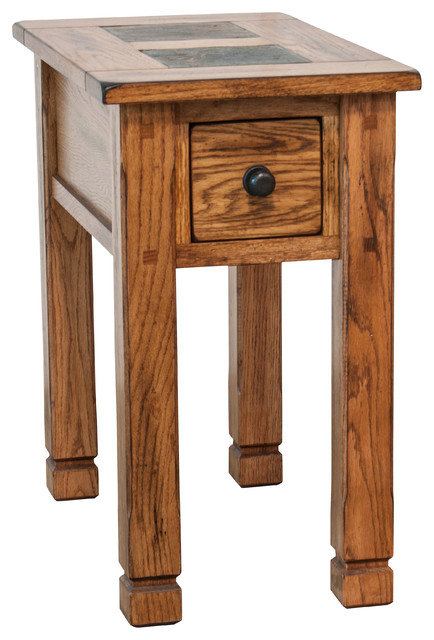 Prescott Slate Top 1 Drawer Side Table