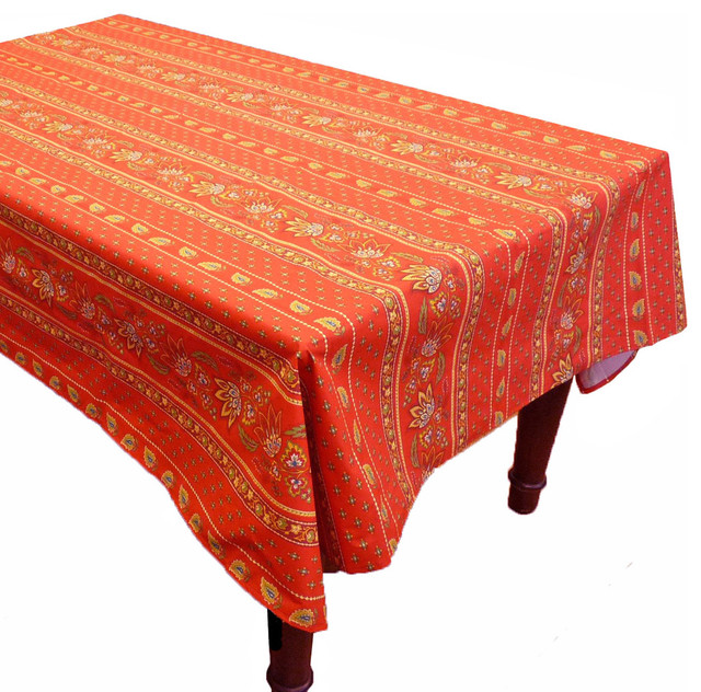 Rectangular Lisa Red Cotton Coated Provence Tablecloth by  : contemporary tablecloths from www.houzz.com size 640 x 632 jpeg 156kB