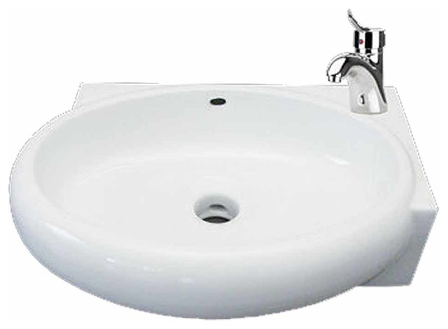 Above Counter Wall Mount Bathroom Corner Vessel Sink White.