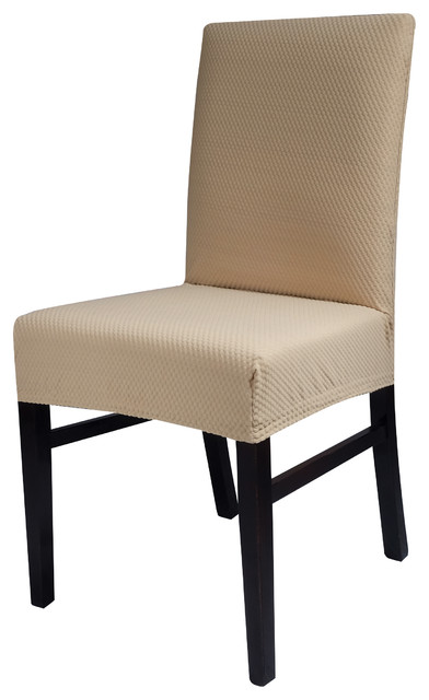 Chiara Rose Stretch & Spandex Fabric Dining Room Chair Slipcover, Beige, 2  Piece