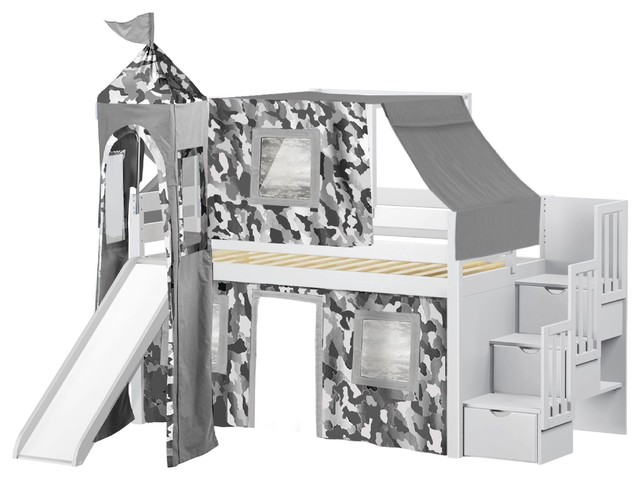 Jackpot Castle Twin Low Loft White Stairway Bed, Gray Camo Tent And Slide.