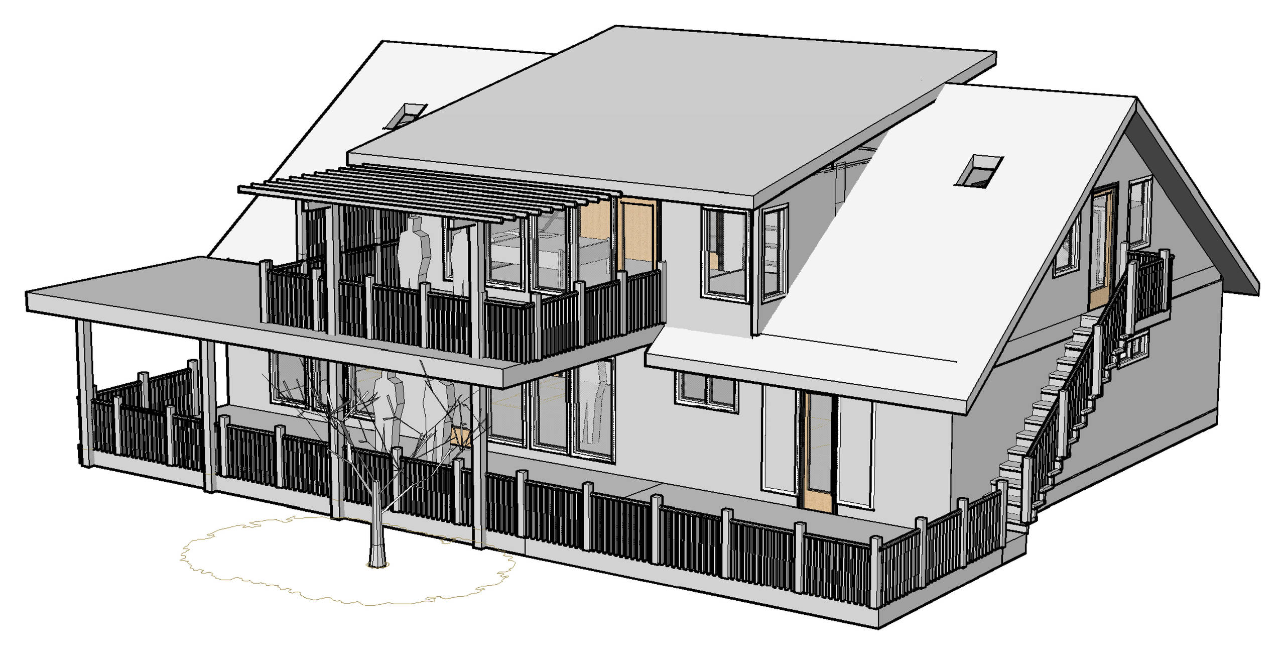 Backyard View of lower and upper decks and upper pop-up addition
