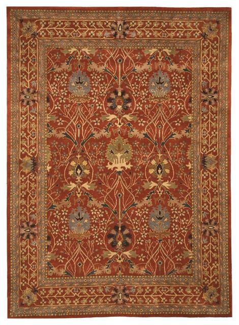 Hand Tufted Wool Rust Morris Rug, 5u0027x8u0027 Traditional Area